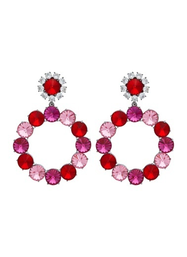 Ninon Ninon Loulou Scarlet, Fuchsia & Rose Kristal Küpe Kırmızı